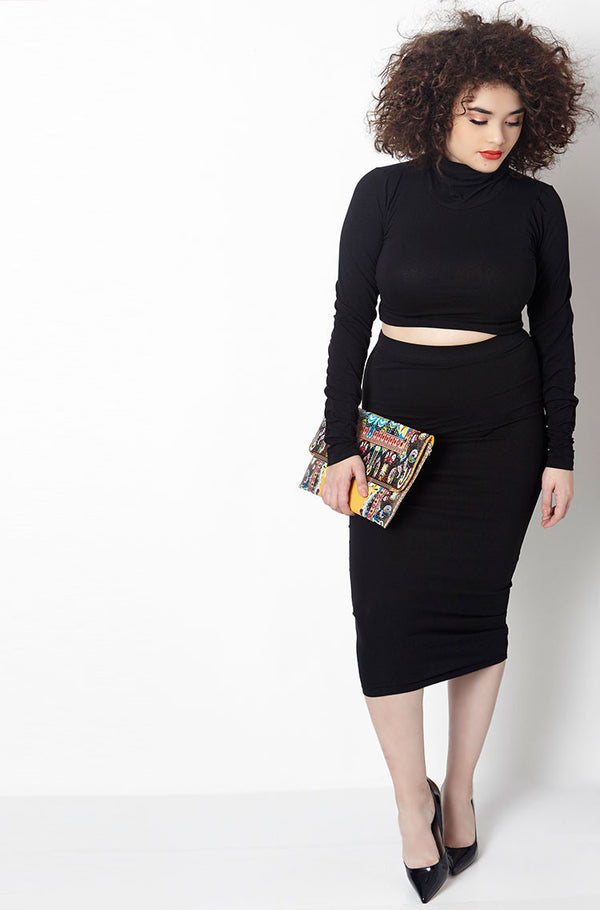 Black Ribbed Turtleneck Two Piece Set Plus Sizes