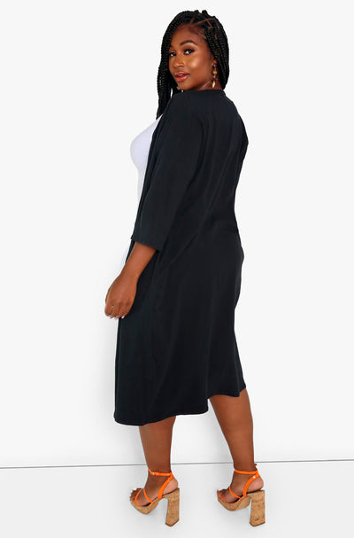 Black Kimono With Pockets Plus Sizes