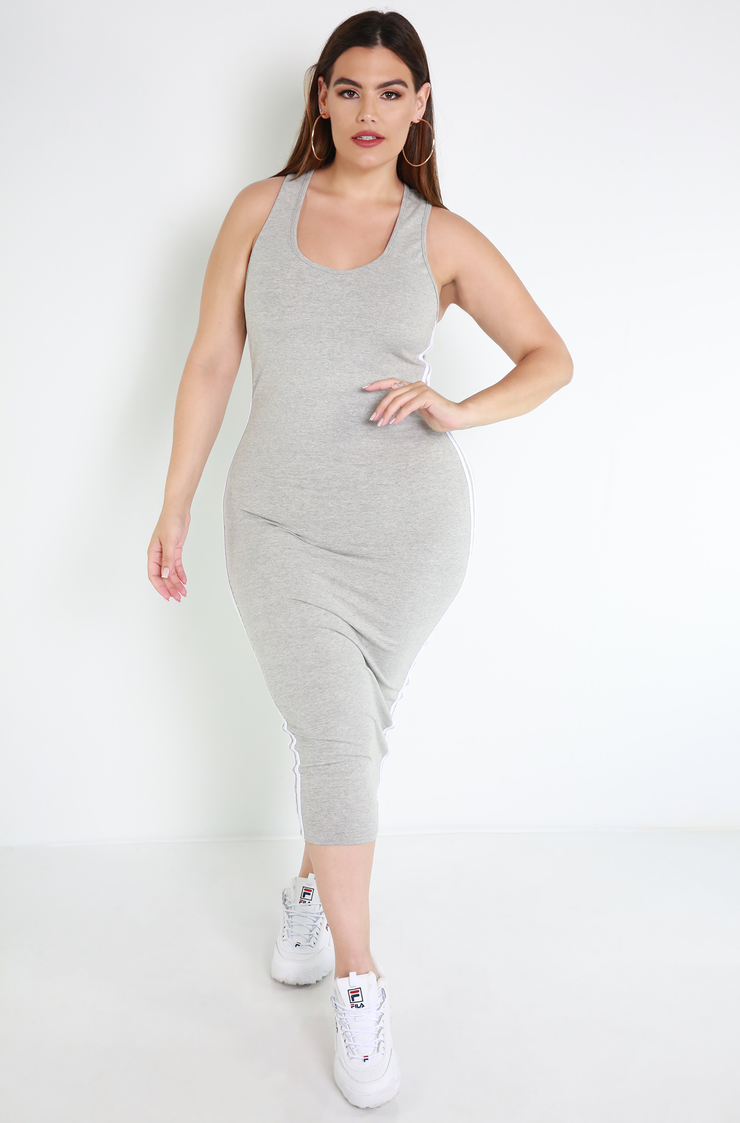 Gray Racerback Bodycon Midi Dress plus sizes