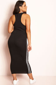 Black Racerback Bodycon Midi Dress plus sizes