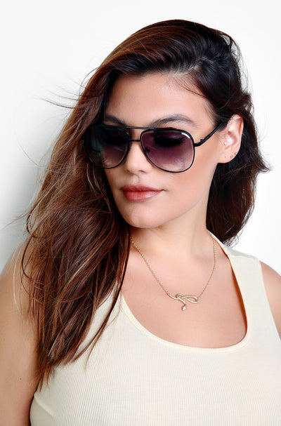 Matte Black Aviator Sunglasses