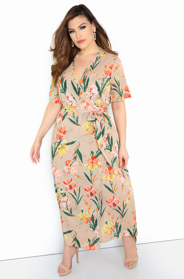 Blush Wrap Floral Maxi Dress Plus Size
