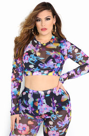 Purple Mesh Floral Crop Top Plus Size