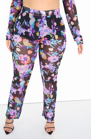 Purple Mesh Floral Pants Plus Size