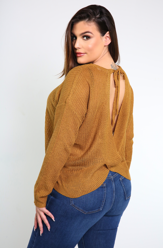 Bronze Open Back Knit Sweatshirt Plus Sizes