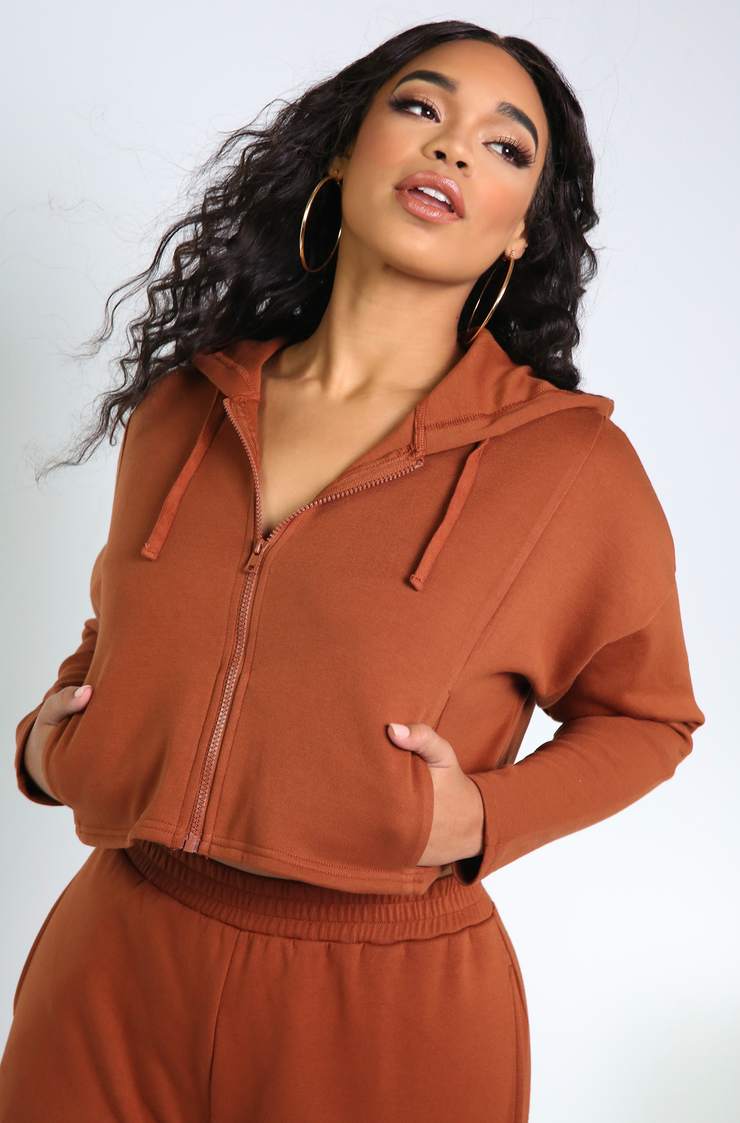 Rust Cropped Zip Up Hoodie Plus Sizes