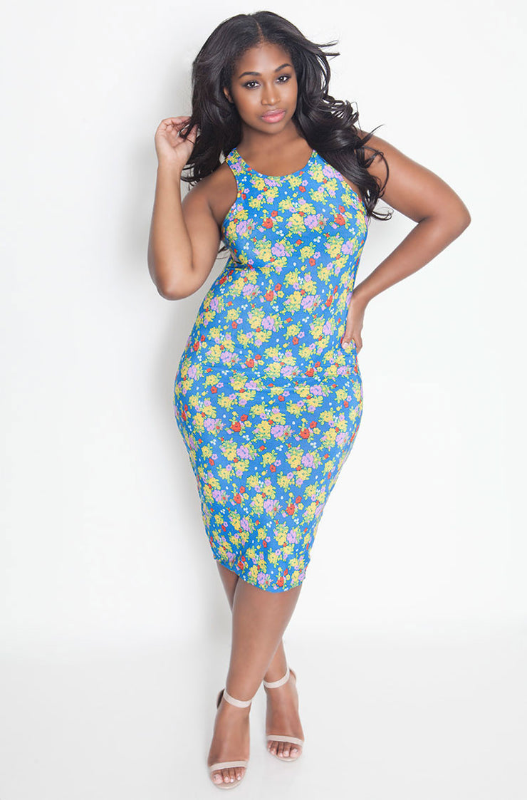 Blue High Neck Bodycon Midi Dress plus sizes