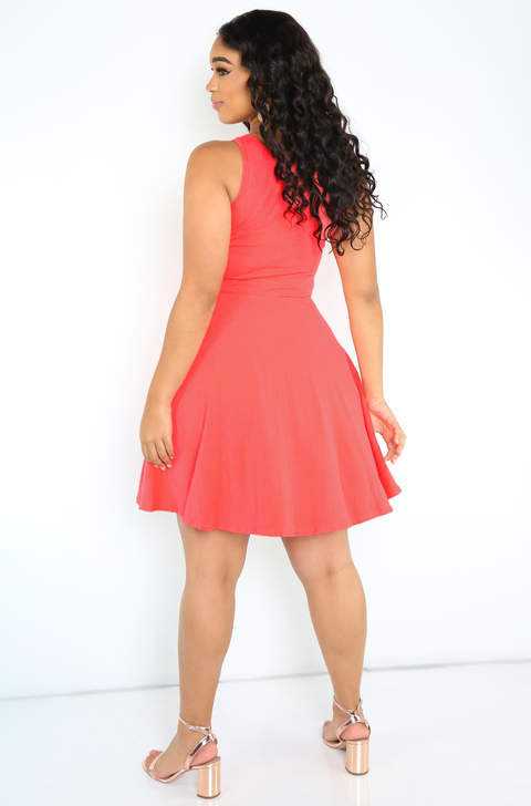 Coral Skater Mini Dress Plus Sizes