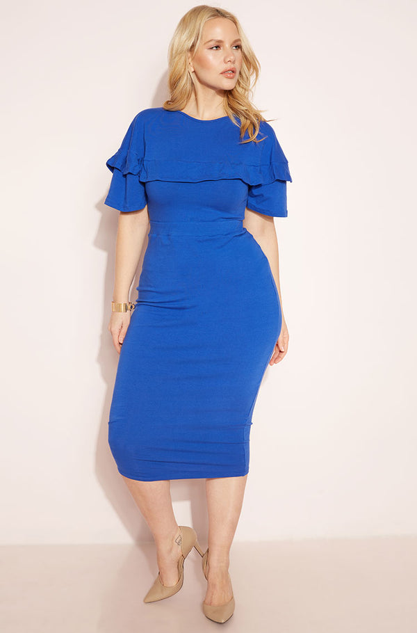 Royal Blue Ruffled Midi Dress plus sizes