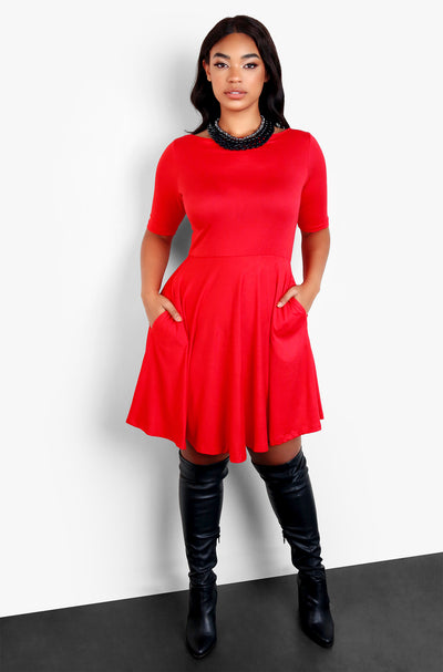 Red Midi Dress with Pockets Plus Sizes