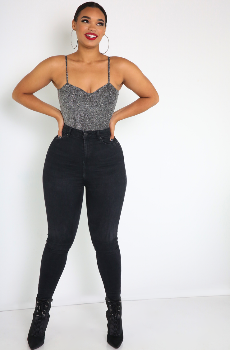Gray Padded Bodysuit Plus Sizes