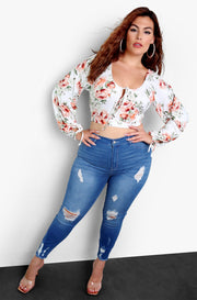 White Floral Puff Sleeve Top With Tie Front Plus Sizes