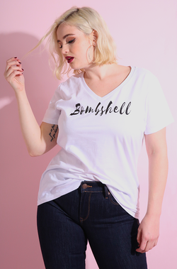 White V-Neck Short Sleeve T-Shirt plus sizes