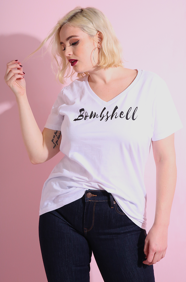 "Rebdolls ""Bombshell"" V-Neck Short Sleeve T-Shirt"