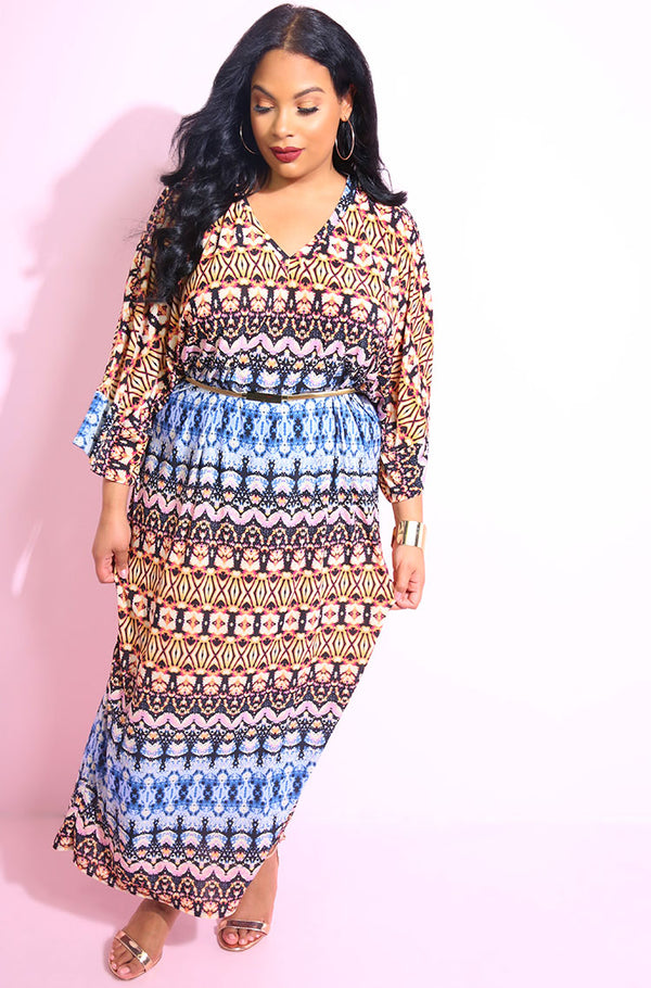 Blue Caftan Skater Maxi Dress win a tie dye print plus sizes