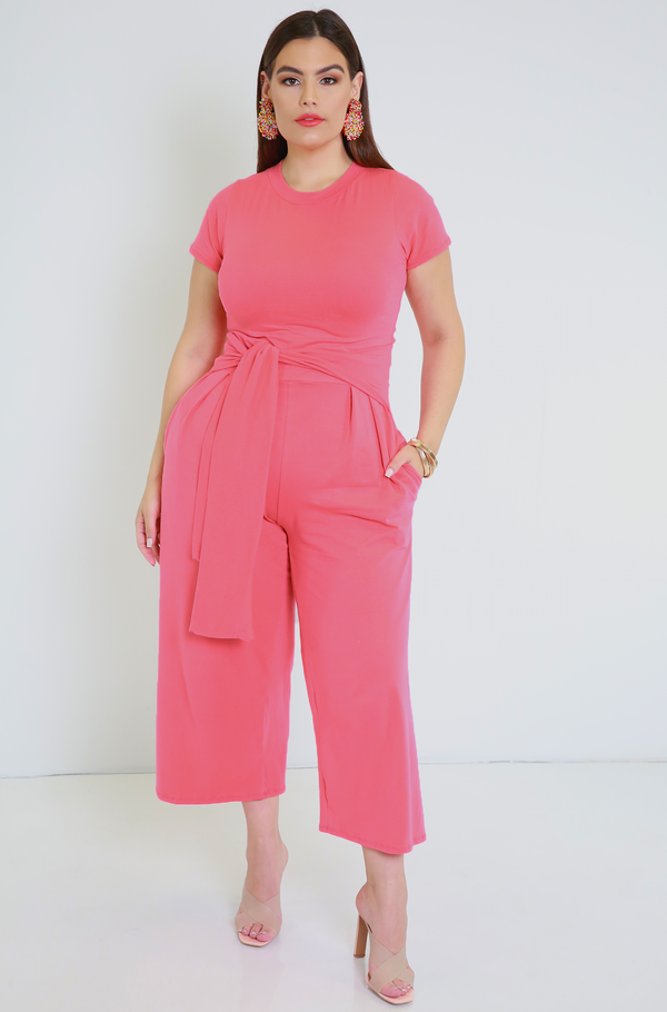 Coral  Front Tie Culotte Jumpsuit With Pockets Plus Sizes