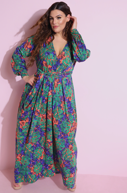 Flower Print Belted Maxi Dress Plus Sizes