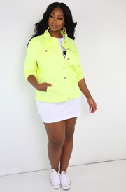 Neon Yellow Distressed Denim Jacket Plus Sizes