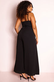 Black Open Leg Jumpsuit plus sizes