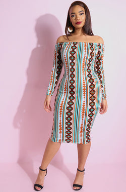 Brown Over The Shoulder Bodycon Midi Dress plus sizes