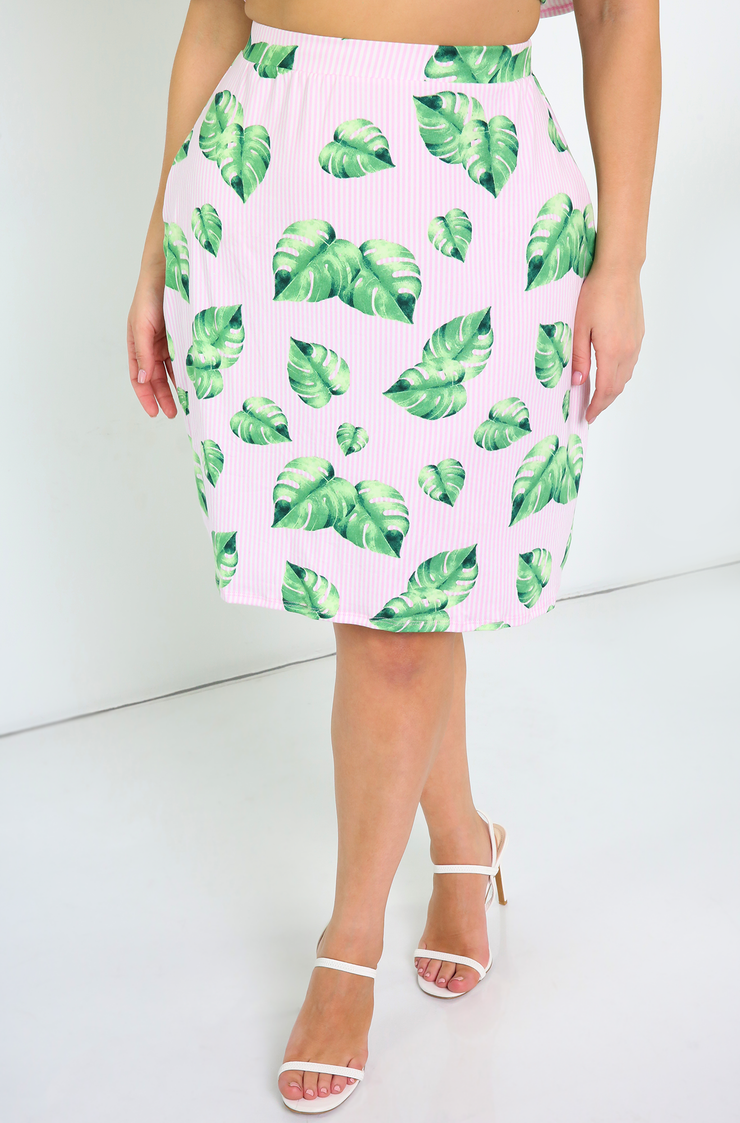 Green A-line Mini Skirt Plus Sizes