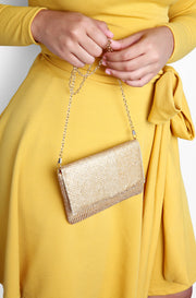 Gold Rhinestone Studded Crossbody Bag