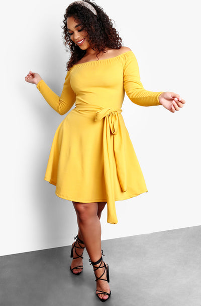 Mustard Over The Shoulder Long Sleeve Tie Front Skater Plus Size Mini Dress