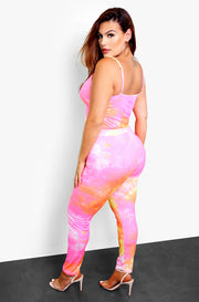 Pink Tie Dye High Waist Leggings Plus Sizes
