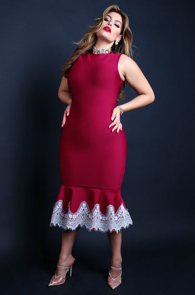 "Rebdolls ""Bringing Down The House"" Sleeveless Laced Hem Bandage Midi Dress - Maroon"