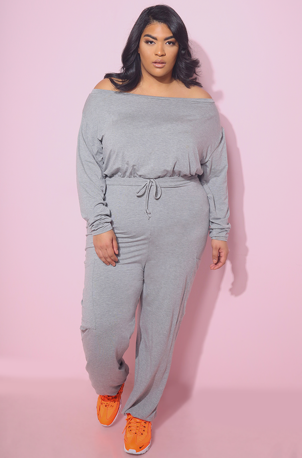Gray Over The Shoulder Jumpsuit Joggers Jogging Plus sizes