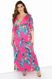 Magenta 3/4 Sleeve Maxi Dress Plus Sizes