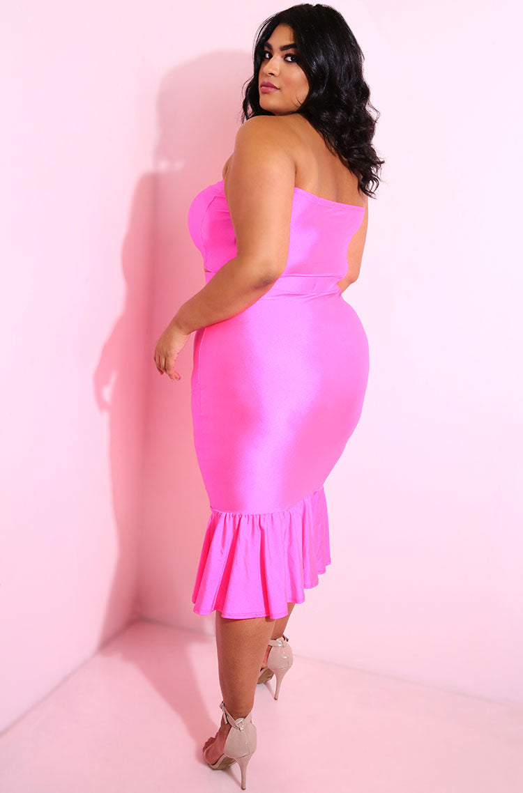 Neon Pink Tube Top plus sizes