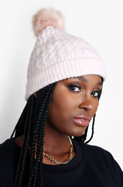 Blush Crochet Knit Pom Beanie