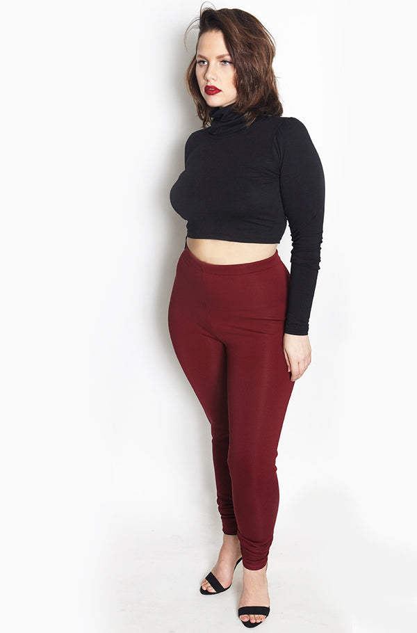 Burgundy High Waist Scuba Leggings Plus Sizes