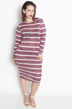 Burgundy Light-Weight Crew Neck Bodycon Midi Dress plus sizes