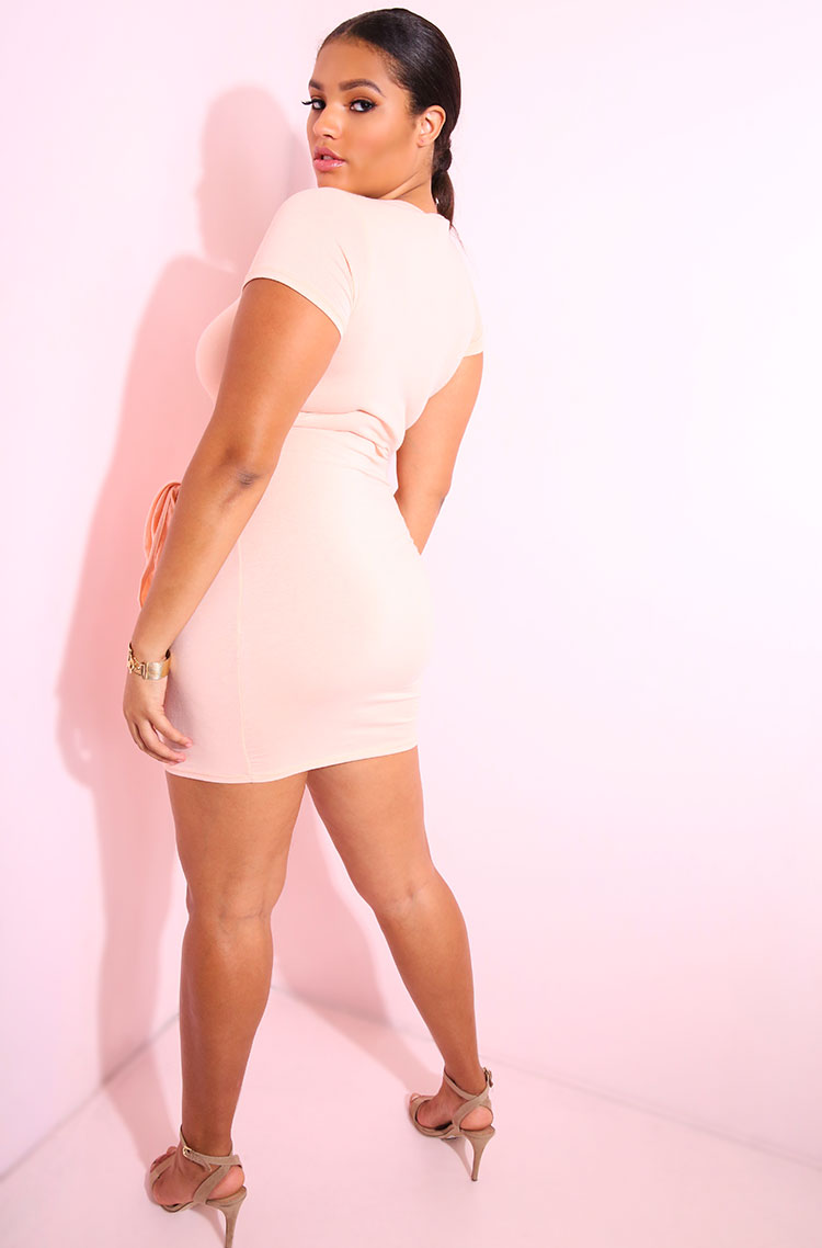Blush Front Tied Mini Dress plus sizes