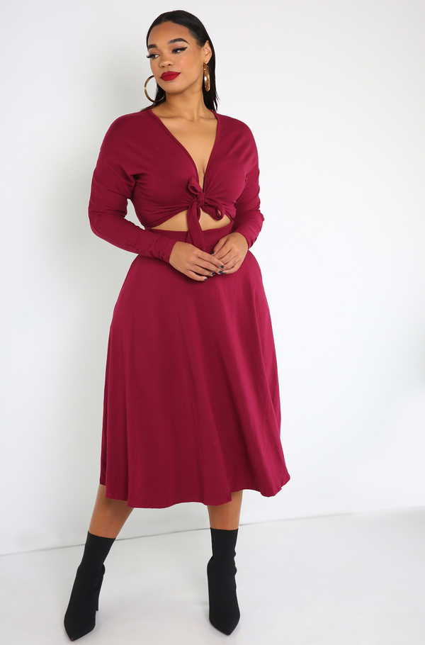 Burgundy  Front Tie Skater Midi Dress With Pockets Plus Sizes