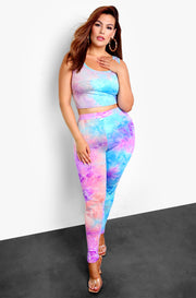 Purple Tie Dye High Waist Leggings Plus Sizes