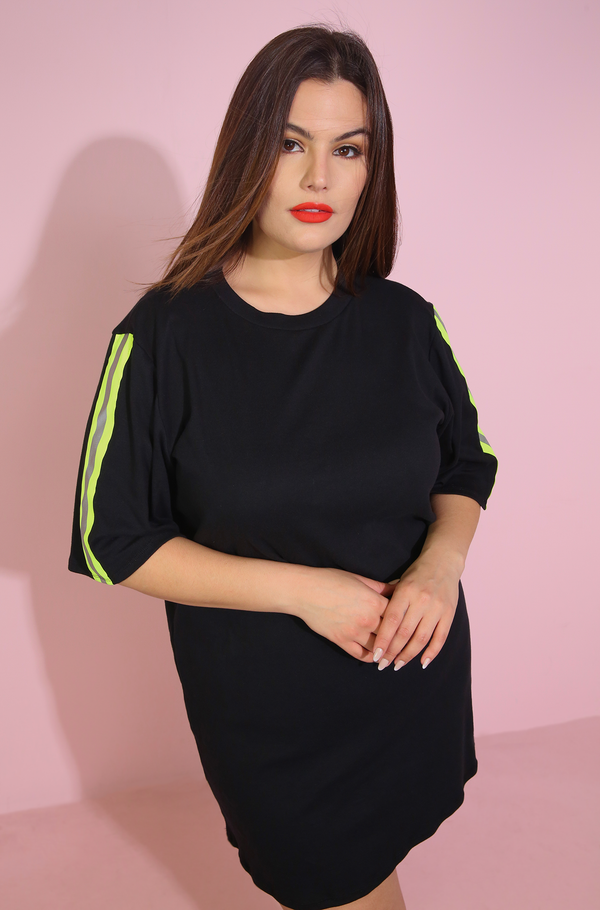 Reflective Neon Strip Black T-Shirt Dress Plus Sizes