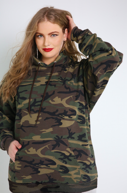 Olive Camouflage Sweatshirt Hoodie Plus Sizes