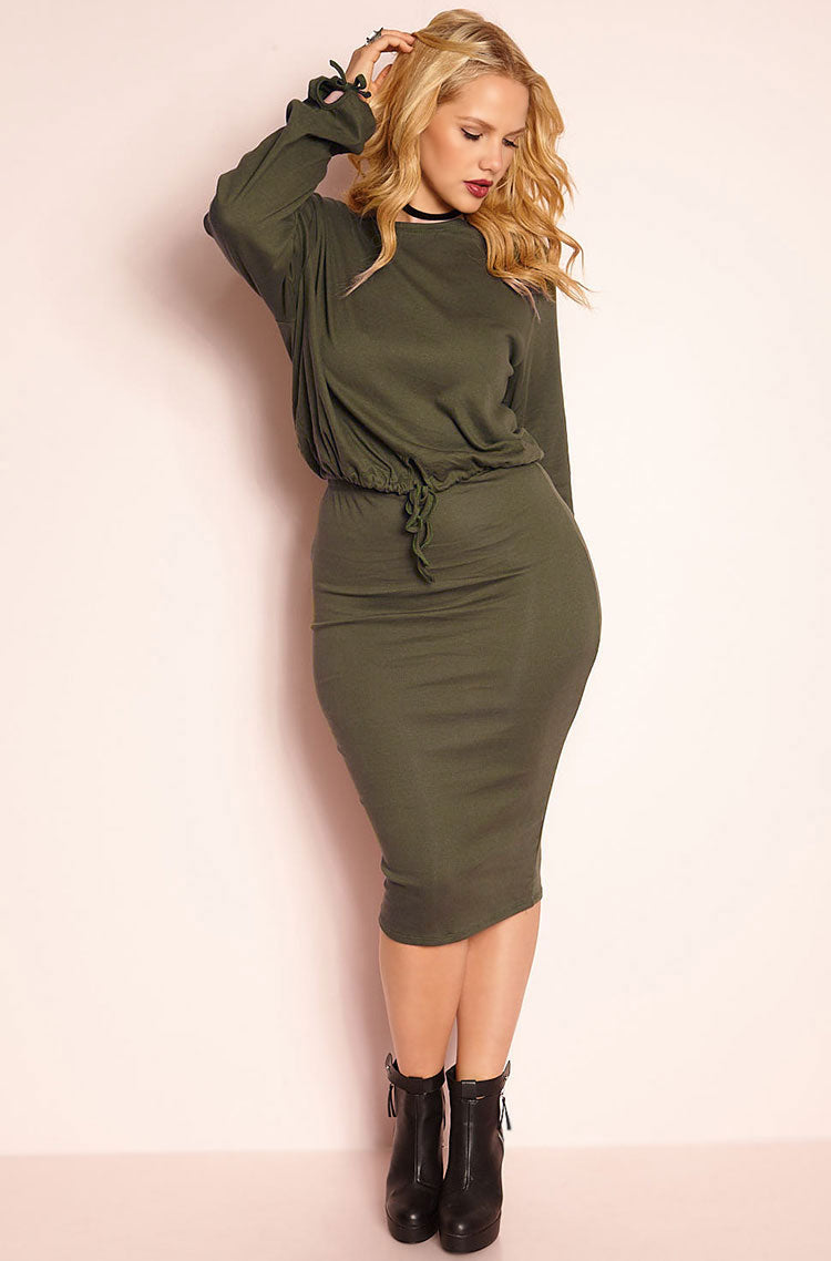 Dark Olive Long Sleeve Top Plus Sizes