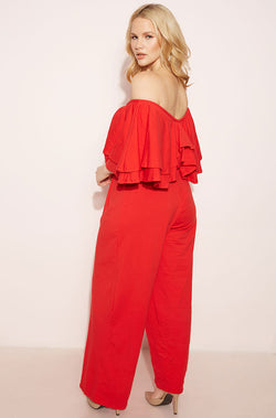 Red Ruffled Jumpsuit plus sizes