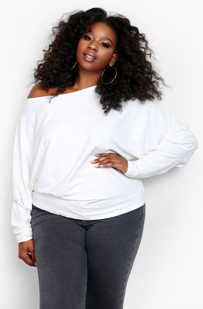 "Rebdolls ""Cancelling Plans"" Over The Shoulder Cozy Long Sleeve Top"