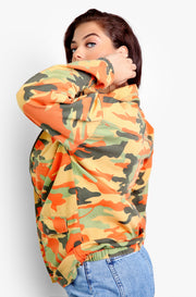 Orange Oversized Camo Jacket Plus Size
