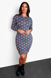 Blue Plus Size Long Sleeve Abstract Bodycon Mini Dress