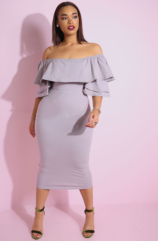 "Rebdolls ""Carried Away"" Ruffled Bodycon Midi Dress"