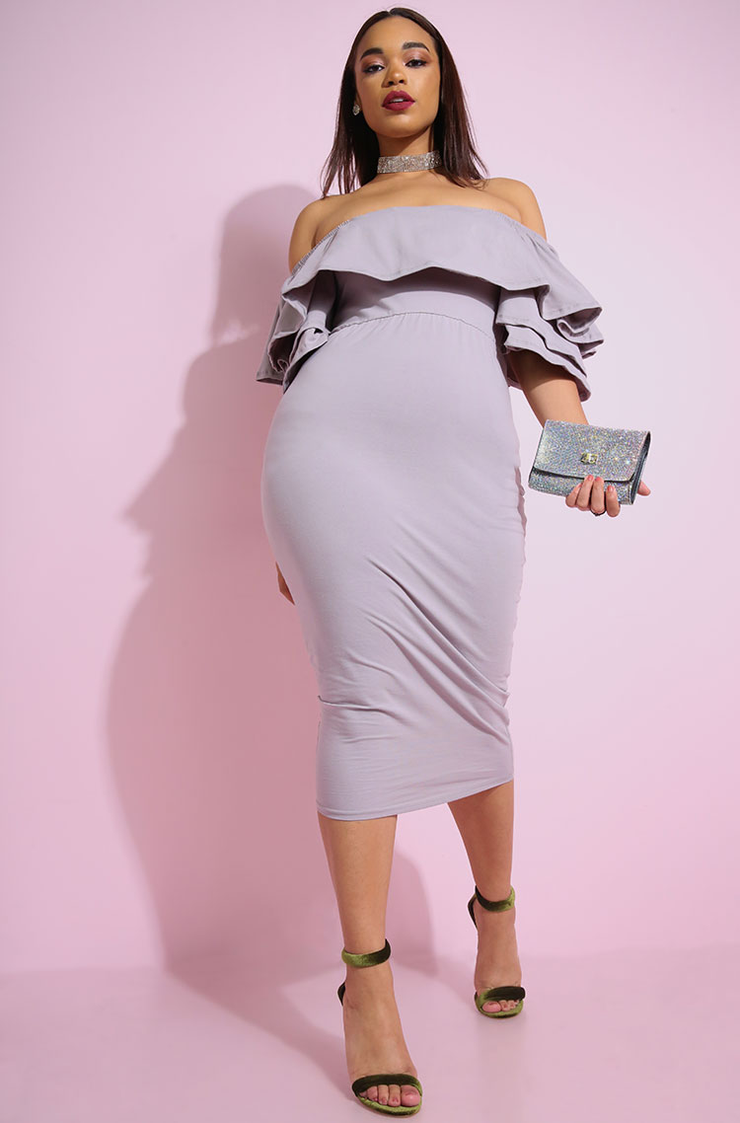 Pale purple Ruffled Bodycon over the shoulder Midi Dress plus sizes