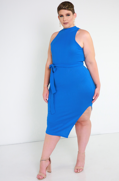 Blue Belted Bodycon Midi Dress Plus Sizes