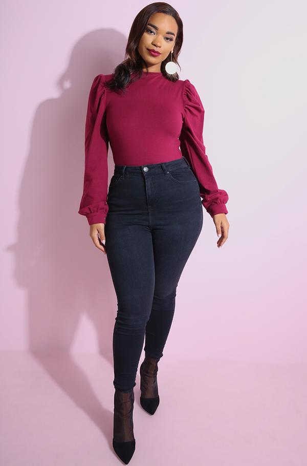 Burgundy Puff Sleeve Bodysuit plus sizes