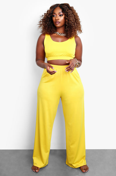 Yellow Wide Leg Pant